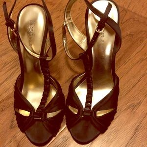 BCBGirls Black/Gold T shape strap heels